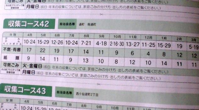Trash schedule