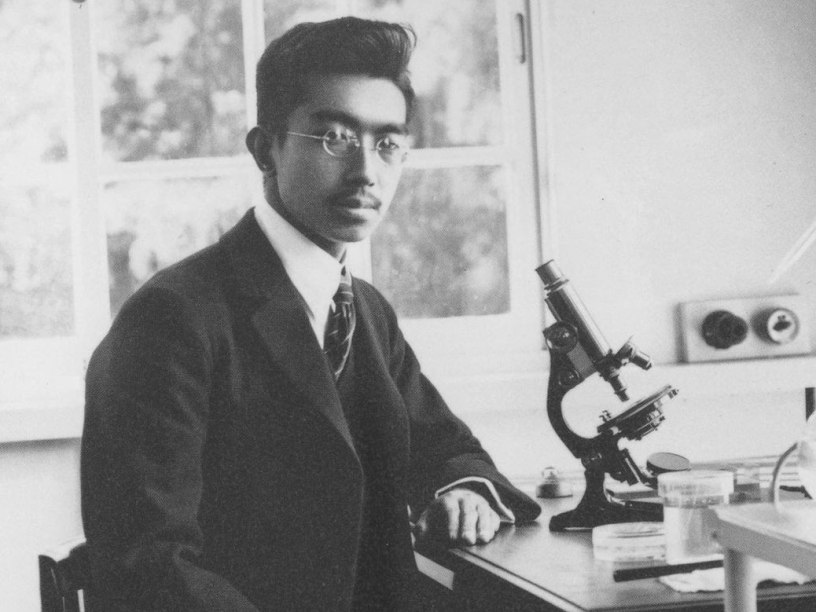 A young Emperor Hirohito in the lab