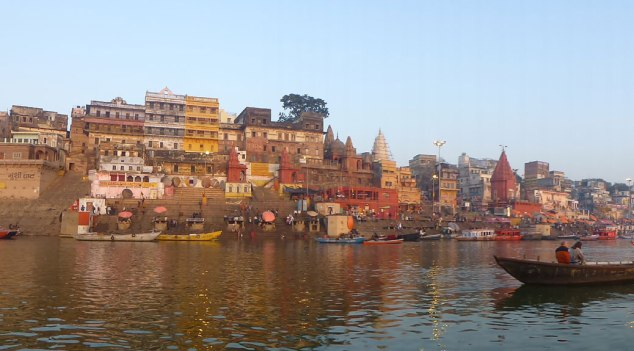 The morning sun cast a beautiful light on the ghats and buildings along the Ganges