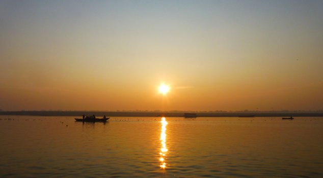 The sunrise on the Ganges was magnificent
