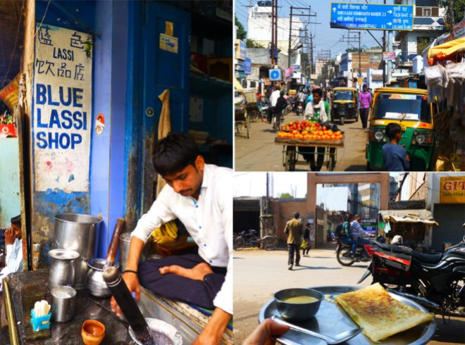 CW from Left: The famous Blue Lassi Shop serving yogurt-based drinks; the bustling city streets; a street vendor was making dosa from scratch