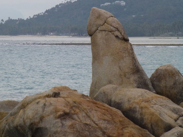 This rock is called the Hin Ta or Grandfather Rock. Can you guess why?! There's a Grandmother Rock equivalent. Tourists flock to take very inappropriate photos with this rock. Google it...