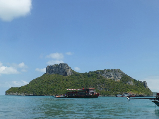 Looking out at the tour boat that took us out to Mu Ko Ang Thong National Marine Park. The park is made up of 42 small islands.