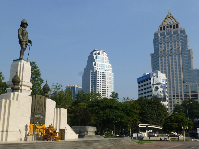 A statue of King Rama VI outside Lumpini Park, Bangkok's first public park established in the 1920s.