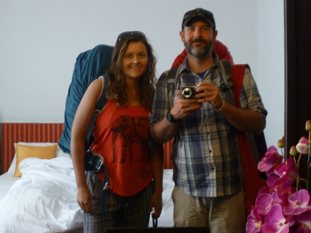 A mirror selfie (melfie?) on the last day of our 33 day, three country adventure