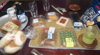 Our grocery-store buffet at the ryokan included yakisoba, inari sushi and dango among other things