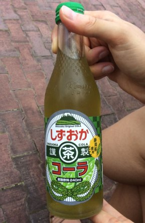 Locally-made Shizuoka Cola is made with green tea, of course!