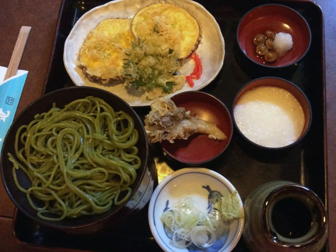 Shopping works up an appetite! Unique green tea soba noodles at nearby Kotobukian. It's served wariko-style, served in three lacquered bowls stacked on top of each other. Our meals included Kawagoe's famous sweet potatoes.
