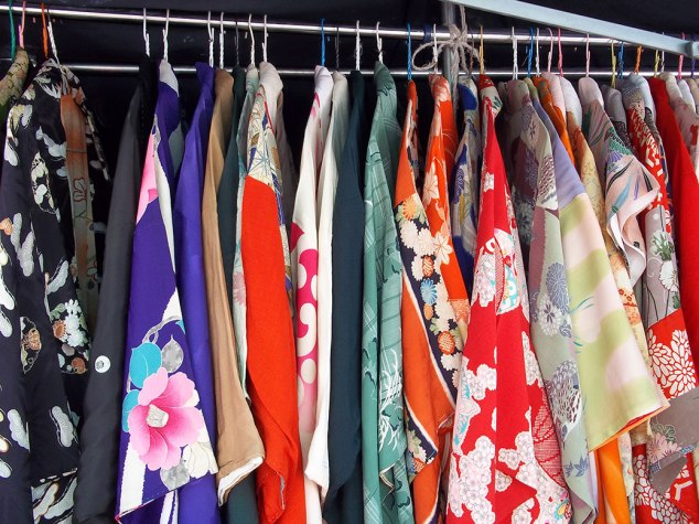 Hundreds of gently-used kimonos and yukata for sale. New ones are pretty spendy, but these could be had for around 1,000 yen (less than $10 USD).