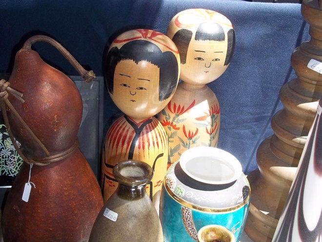 Many vendors offered wooden kokeshi dolls. Messages are placed inside and the dolls are given as gifts of friendship.