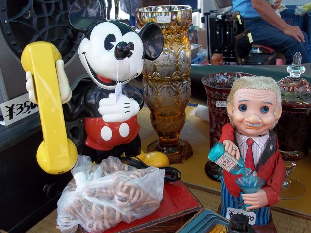 A match made in vintage heaven... a Mickey Mouse phone and a Blushing Willy drinking doll (check out a video of Willy in action)