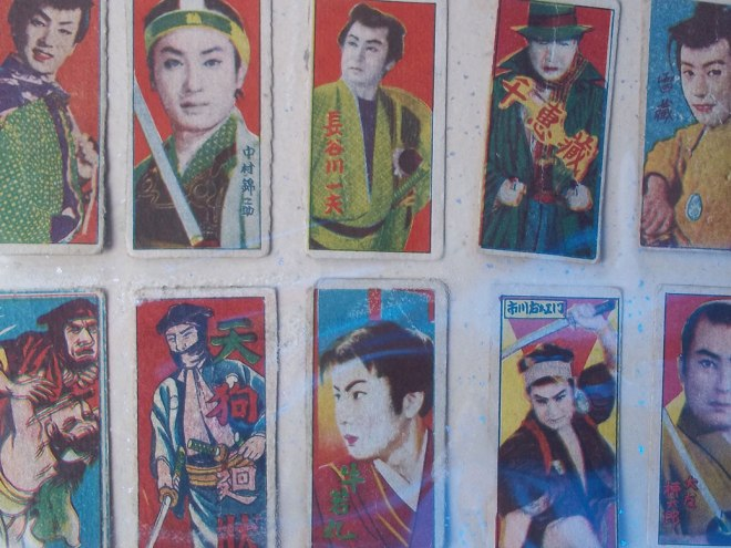 Trading cards featuring samurai film stars used to be distributed in packs of chewing gum in 1960s Japan.