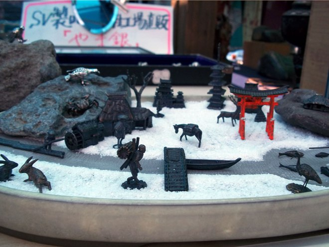 A diorama depicting a winter shrine. Several make-your-own pieces were for sale at this booth.