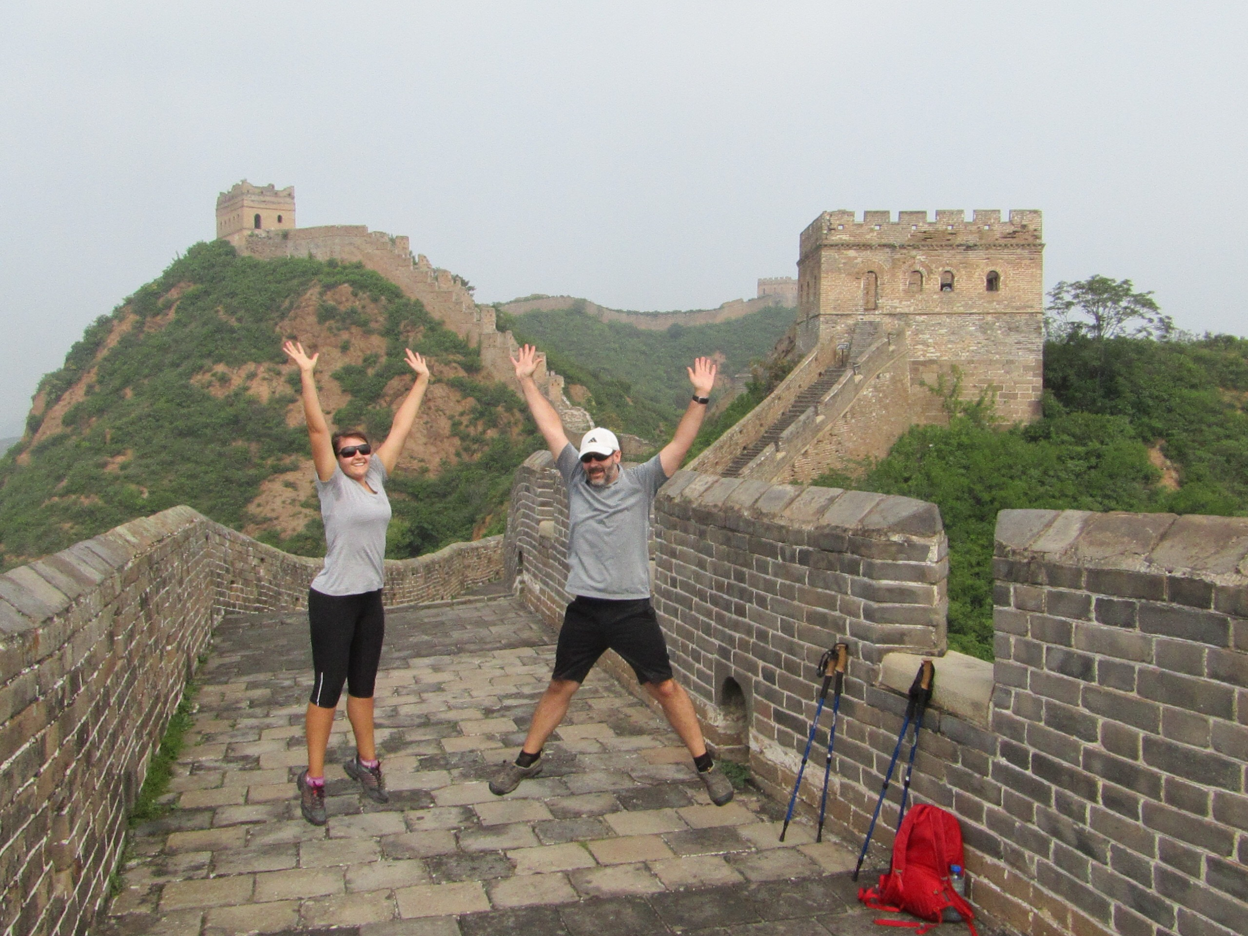 Full of energy at the start of the day (around 9 a.m.) and jumping for joy at the prospect of a day walking the Wall.