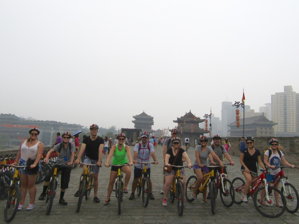 Our fellow travelers mounted up and ready to ride around the Xi'an City Wall. We're joined on this trip by Australians, Canadians and  a Swiss.