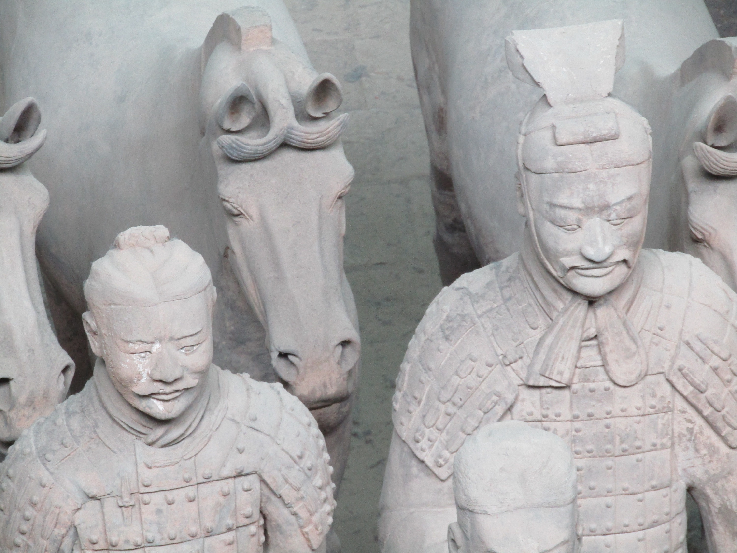 Qin's terracotta army was created in the same manner as a human army, complete with generals, infantry, horse-drawn chariots and social structures. Each warrior was dressed in bronze and leather, and held different weapons. The bronze swords were still sharp enough to cut paper when they were rediscovered thanks to a chrome-plating method that died with the empire and would not be re-invented for another two millennia.