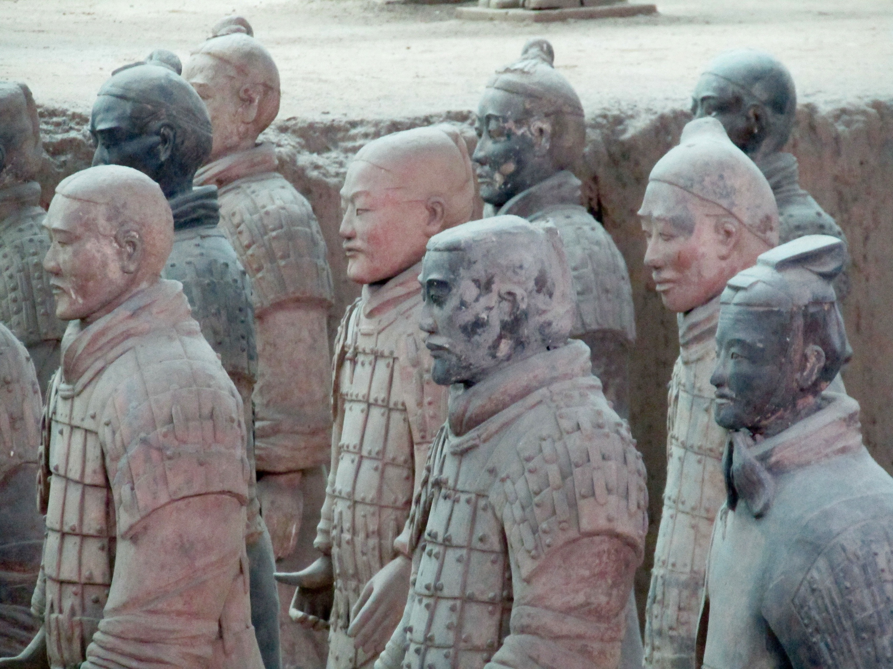 The faces and bodies of each soldier in the army is unique. They were constructed using extra-strong local clay that could be fired at twice the temperature of clays imported from Beijing. The resulting soldiers weigh between 200-300 lbs. each. Archeologists are still piecing together the soldiers and have restored around 2,000 of the 6,000-plus member army.