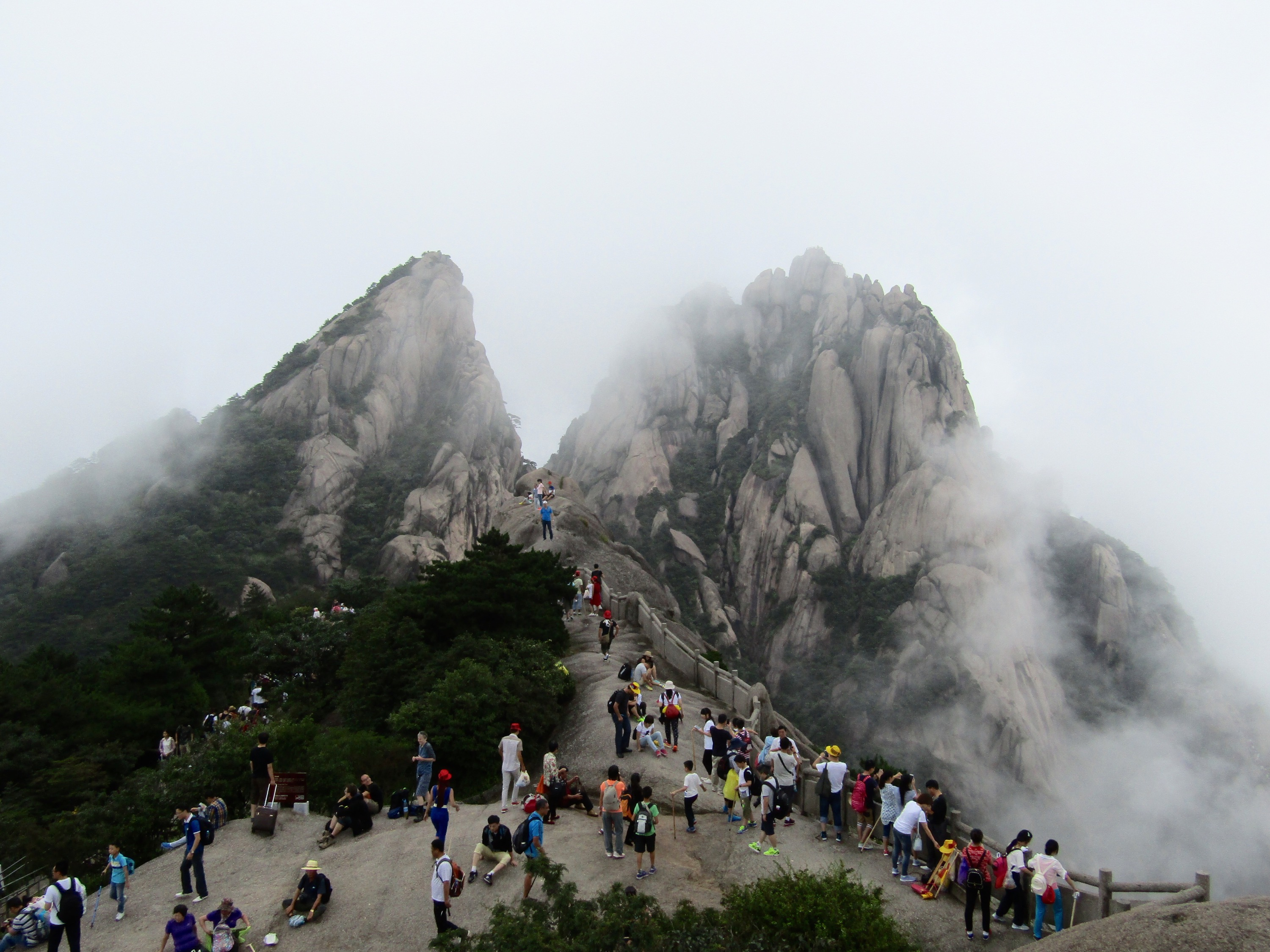 Our visit coincided with the end of the rainy season. The floating fog and mist is part of what makes Huangshan such a sight to behold, but the rainy weather made clear views of its twisted peaks a rarity.