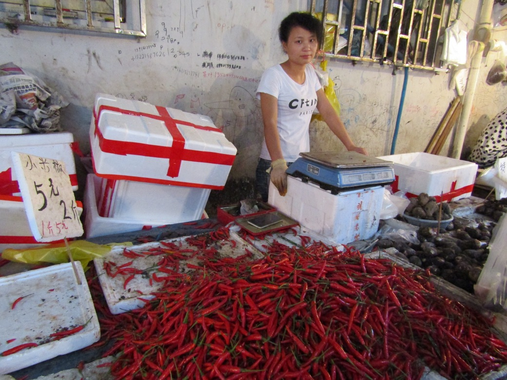 The red chili pepper is a major component of Sichuan-style cuisine. The local market had no shortage of this key ingredient.