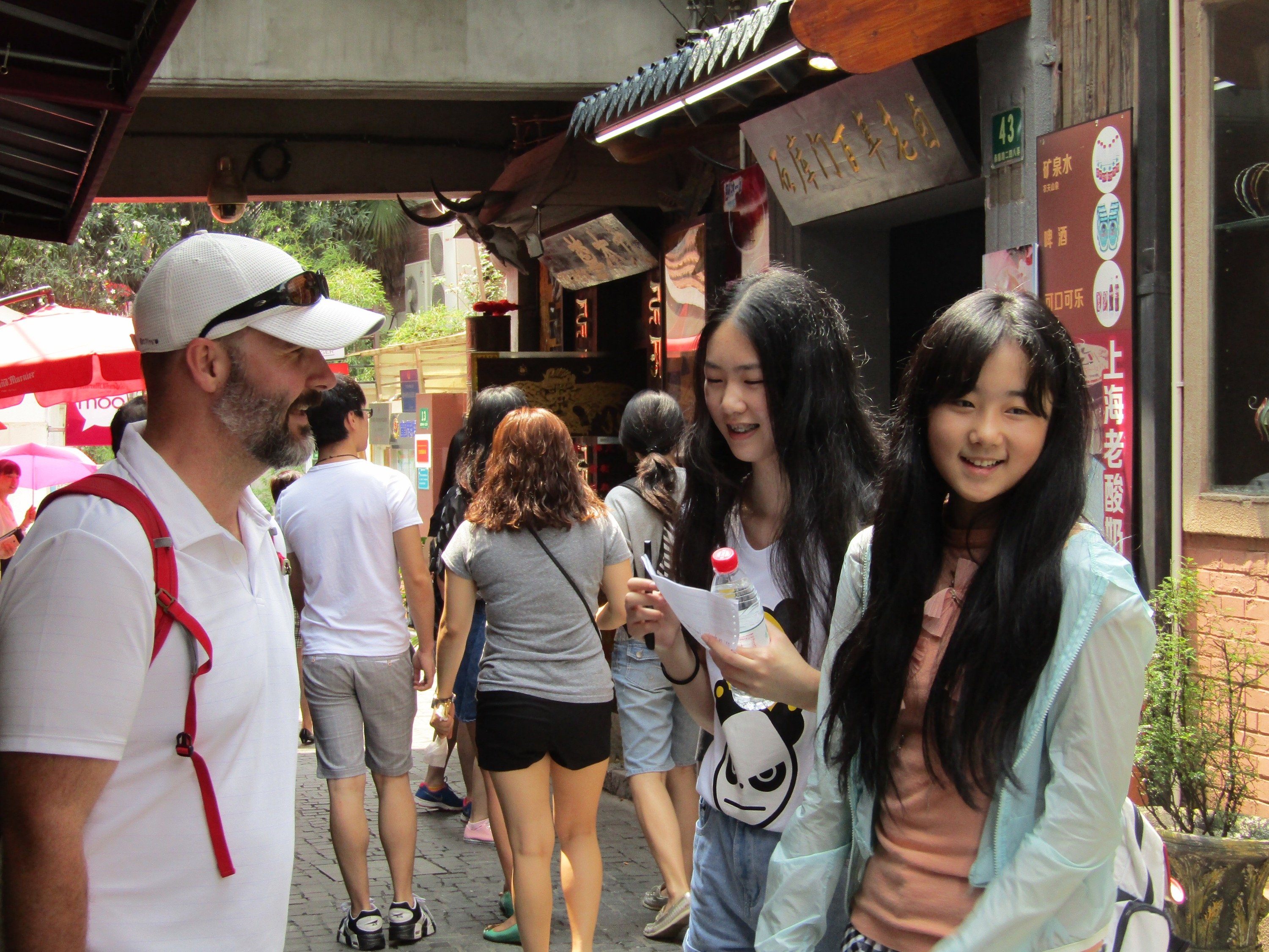 Throughout our trip, we were frequently stopped by students looking to fulfill a school assignment. In the French Concession, these girls asked questions about my view of Shanghai and whether the education system was better in the U.S. or China. Every exchange was recorded on video, so we'll be making an appearance in a Chinese classroom before long!