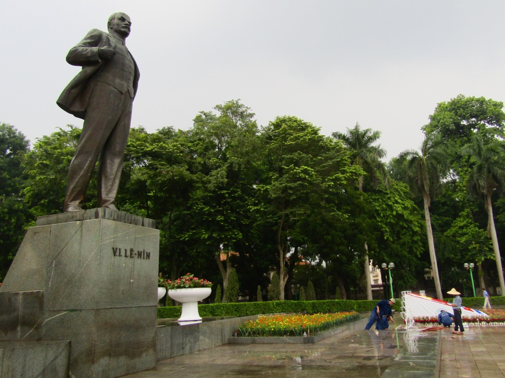 Uncle Ho's Soviet counterpart, Vladimir Lenin, has his own ominous statue in a park across the street from Hanoi's Army Museum. Workers are preparing for the 70th anniversary of Vietnam's post-World War II independence.