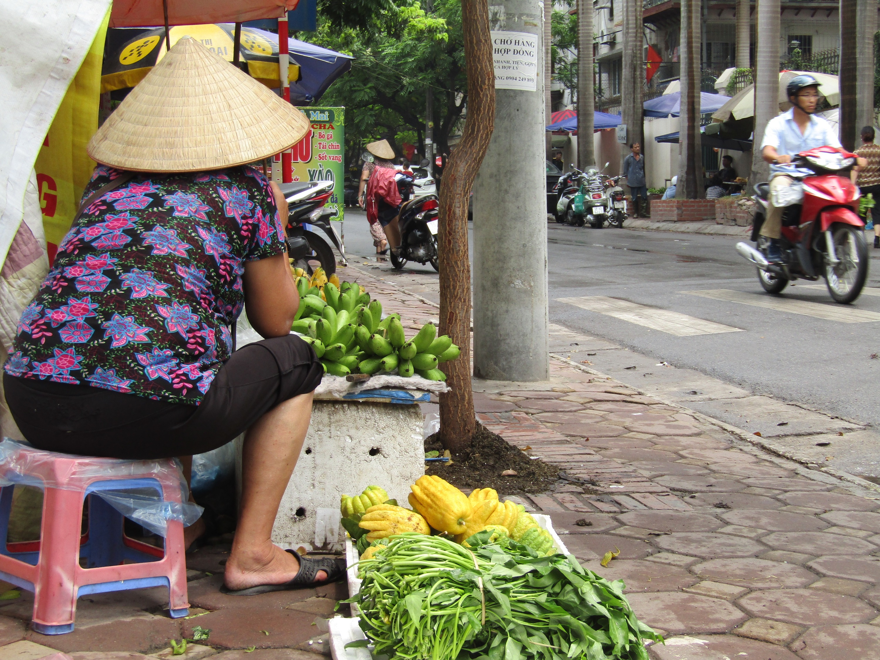 A woman selling vegetables on a busy street near the Old Quarter.