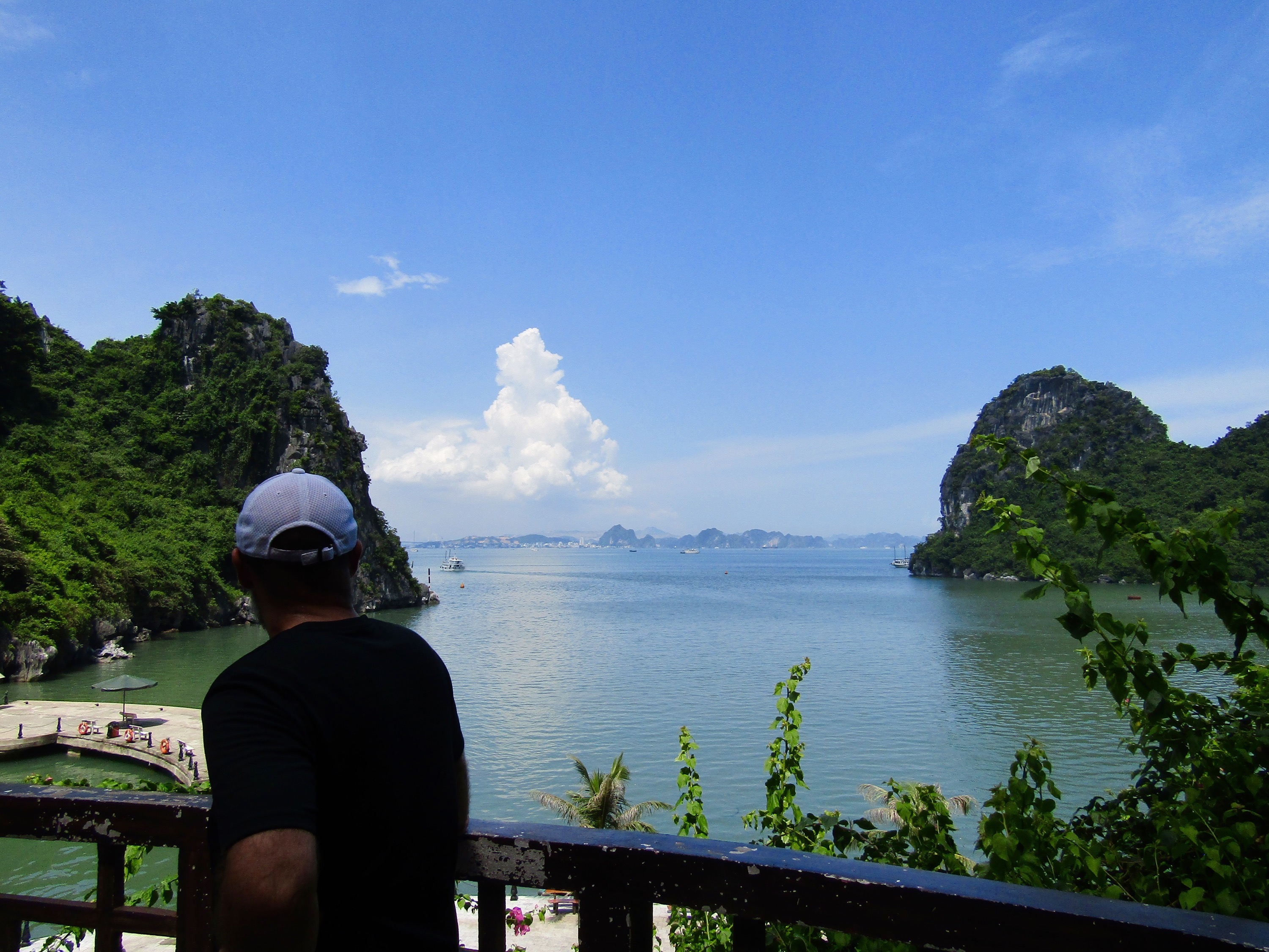 Immediately upon arriving in Halong City, we boarded a boat and set course for a harbor on Bo Hon Island. The view back to the city over the Gulf of Tonkin was magnificent.