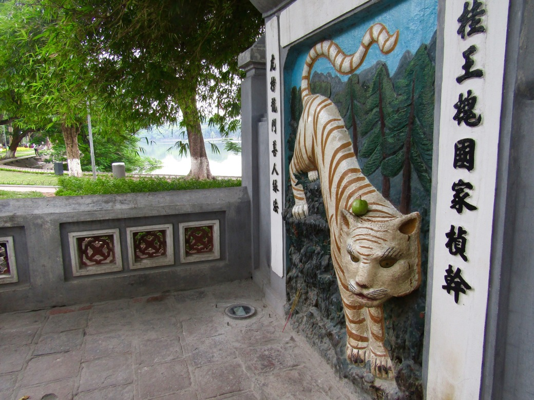 At Ngoc Son (Temple of the Jade Mountain), a visitor left an apple on the tiger's head as an offering. The tiger is a symbol of stability in feng shui.