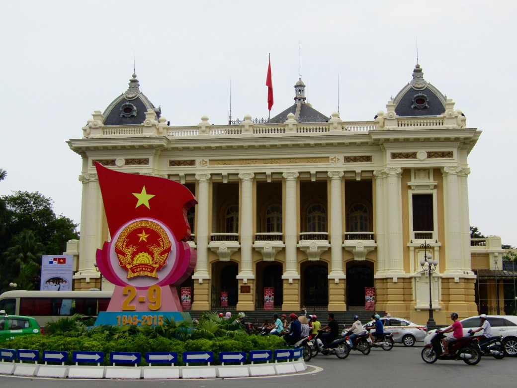 The Hanoi Opera House was built over the course of 10 years beginning in 1901 during the French colonial era. The opera house still hosts both Vietnamese and Western productions today.