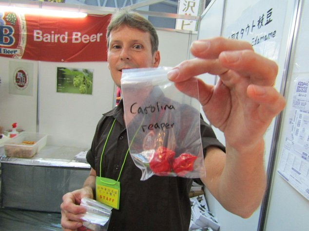 We didn't try Baird's beers this time around since they have easily-accessible tap houses throughout the Tokyo metro area, but we did sample some of the hot peppers they scored at the festival. We did NOT try the Carolina Reapers; the reigning champion for hottest pepper on the planet coming in at 2.2 million scovilles, six times hotter than a habanero pepper.