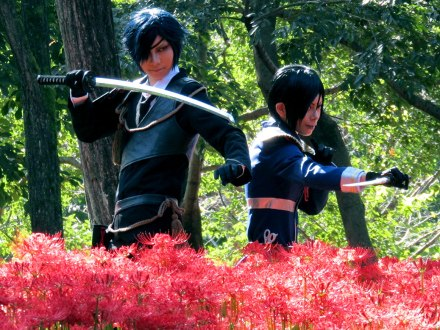 This pair in full costume were being filmed both by a professional photographer and videographer. In 2014, a dozen films and television shows were filmed in Hidaka City.