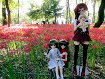 Several cartoon-style dolls were arranged beside the path near Koma River. Everyone with a camera stopped to snap some photos of the very strange, yet also very Japanese, scene.