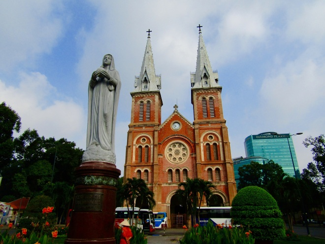 The epic Saigon Notre-Dame Basilica is directly across the street from the post office, offering a two-for-one sightseeing experience. The church itself was completed in 1880, but the current Our Lady of Peace statue was installed in 1959. In 2005, the statue was in the news when it was reported to have shed tears, although the local clergy weren't able to verify the event.
