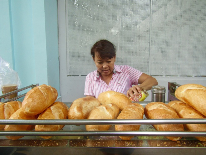 Finding breakfast on the streets of Vietnam is simple. Step 1: Find a banh mi stand. The bread is always fresh in the morning and there's nothing like a deep-fried egg to get your day started.