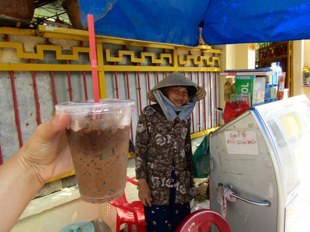 Step 2: Find yourself a ca phe sua da (Vietnamese iced coffee) vendor. This lady might have made the best one we had on the entire trip despite a very makeshift operation on the sidewalk.