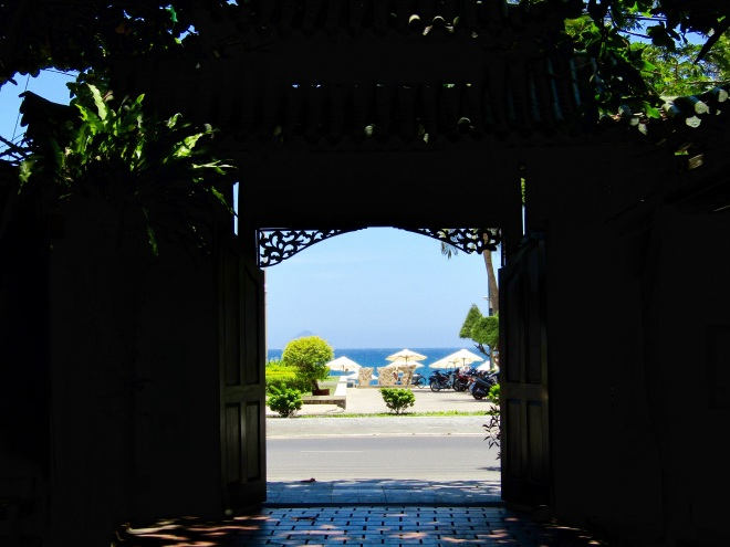 Looking out the doors from XQ Hand Embroidery Village at Nha Trang Beach.