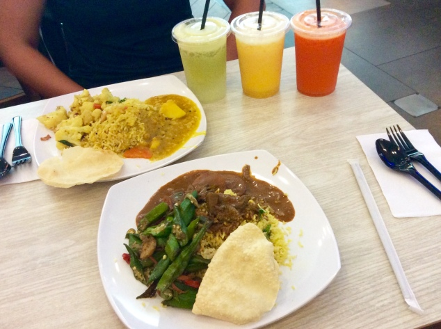 The first stop on the long road home was a three-hour layover in Kuala Lumpur. We found an Indian restaurant in the food court. The nearby juice bar had a 3-in-1 option that called our name after 40 days of travel eats.