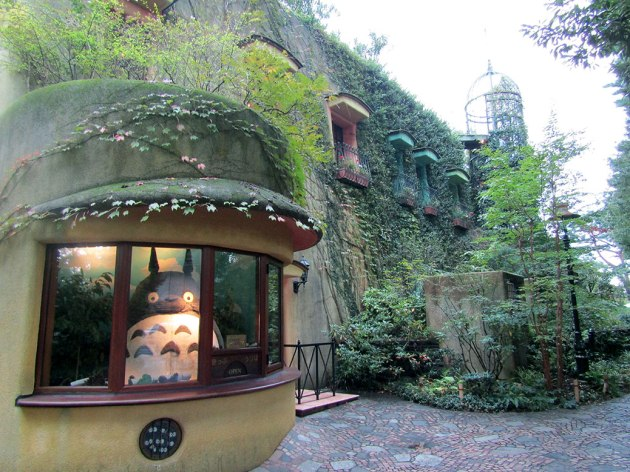 Totoro and the susatawari (small black dust spirits) greet visitors at the gates of the Studio Ghibli Museum