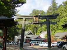 The torii leading to Futarasan Shrine. Founded in 767, the shrine is home to the kami/god of Mt. Nantai and stands as an example of the influence of Japan's mountain culture from the 3rd-1st centuries B.C.