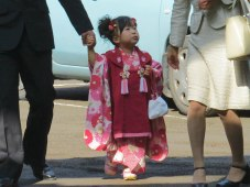 This little girl has likely just turned 3-years-old and is celebrating Shichi-Go-San (Seven-Five-Three). At age 3 and 7 (3 and 5 for boys), girls visit the shrine dressed in traditional kimono to wish for a long and healthy life.