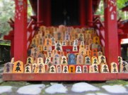 Next to Kaizan-do, a smaller shrine called San-no-miya is dedicated to safe delivery in childbirth. The tablets represent a Japanese chess piece called kyosha, which can only move forward in a straight line—not unlike the desired path of giving birth!