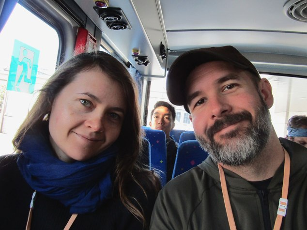 On the bus to the museum. We shortly learned that no photos were allowed on the bus or in the factory, so technically this is an illegal selfie.