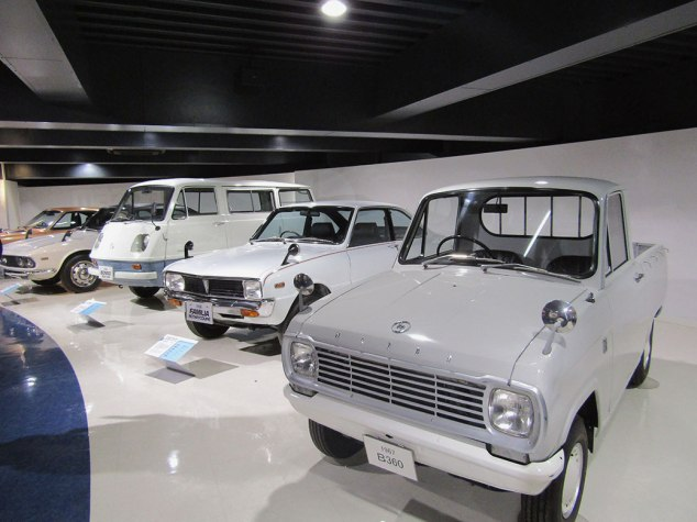 Some of Mazda's original models, including one of its first pickup trucks and the Familia, the forerunner of the Mazda Protege