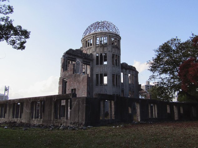 The Hiroshima Prefectural Industrial Promotion Hall as it looks in 2015, now known as the Atomic Bomb Dome. The east side of the building was facing the hypocenter of the bomb.