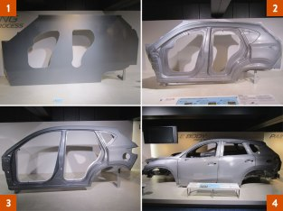 An example of Mazda's stamping process shows the steps from a piece of sheet metal to the molded finish on the actual vehicle