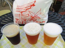 The sampler set from Miyajima Beer—from left to right (and best to least-best), Dunkel, Pale Ale and Pilsner.
