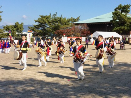 A Korean-style dance group performed in Miyajima's center square