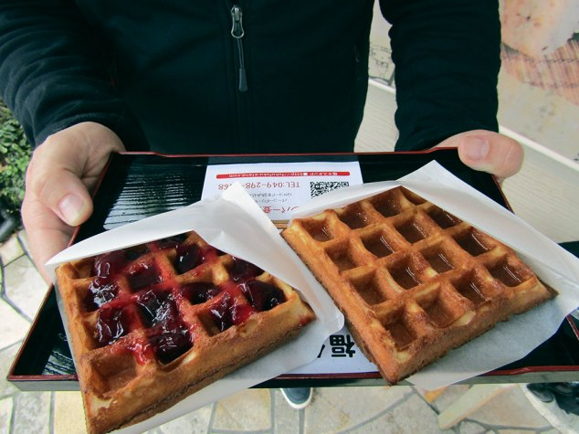 Waffles at the Fuku Fuku Stand near Renkeiji Temple. Cranberry syrup on the left and maple syrup on the right.