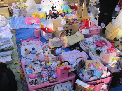 A very pink and Hello Kitty-heavy collection at the Yasukuni Shrine Flea Market
