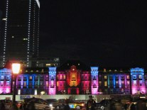 Tokyo Station Hotel illuminations. In 2012, an impressive projection mapping display caused major traffic problems, leading to the more toned-down lighting display.